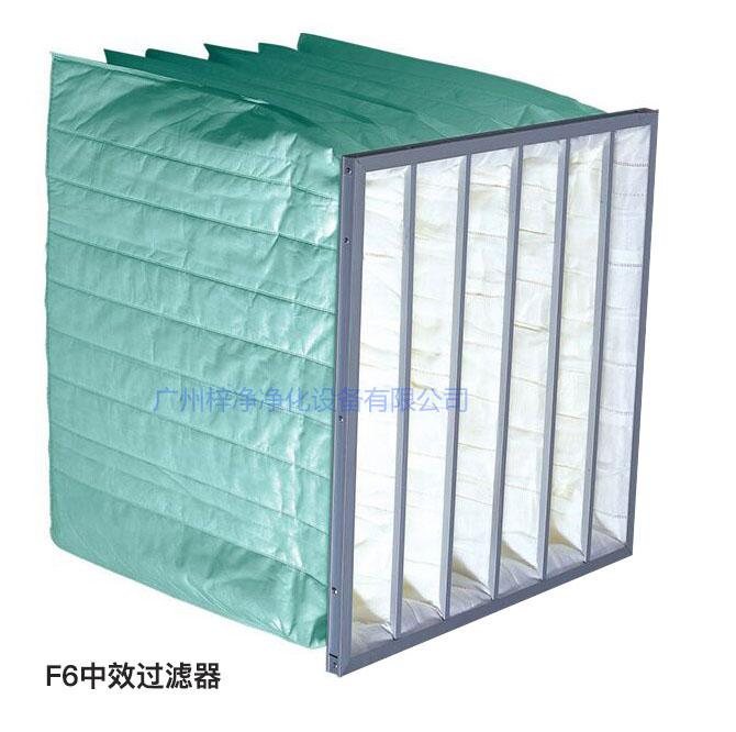 F6级袋式中效过滤器过滤效率为60-65%,常用于净化空调中级过滤。